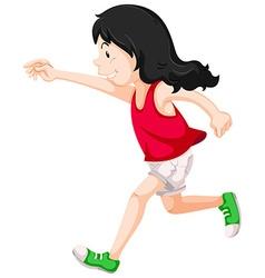 Little girl in red shirt running vector