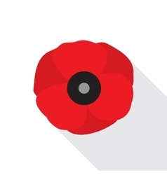 Red poppy flower flat icon vector