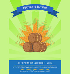 All come to beer fest on green vector