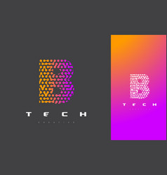 B letter logo technology connected dots letter vector
