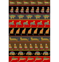Background with ethnic ornaments patterned cats vector image vector image