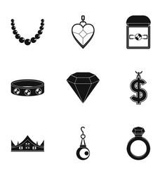 Bijou icon set simple style vector