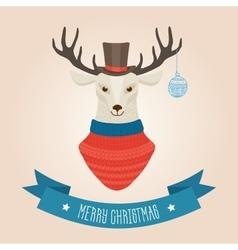Christmas cute forest deer head logo vector image