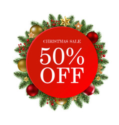 Christmas sale banner with balls vector