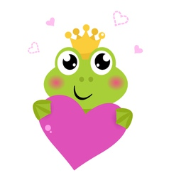 Cute frog holding pink heart isolated on white vector