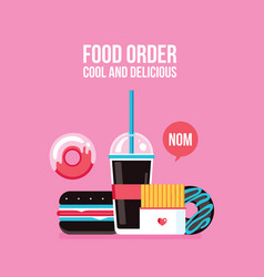 fast food icons drink hamburger hot dog donut vector image
