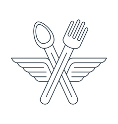 Fork ad spoon crossed with wings icon and logo vector