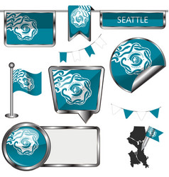 Glossy icons with flag of seattle vector