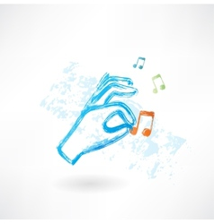 hand music grunge icon vector image vector image