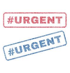 Hashtag urgent textile stamps vector