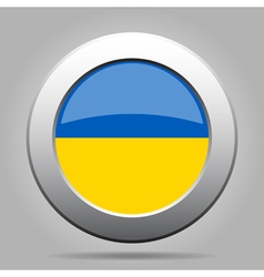 Metal button with flag of ukraine vector