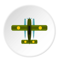 Military biplane icon circle vector