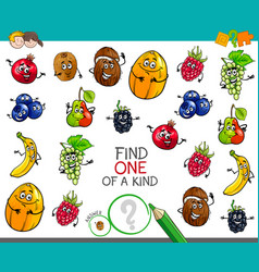 One of a kind game with fruit characters vector