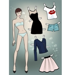 Paper doll with different dresses vector