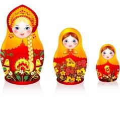 Russian tradition matryoshka dolls vector