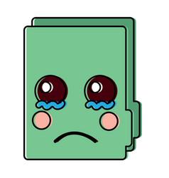 Sad file folder kawaii icon image vector
