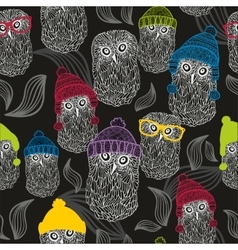 Seamless background with winter owls vector