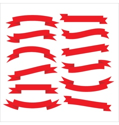 Set of beautiful festive red ribbons vector image vector image