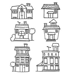Set of house hand draw design vector