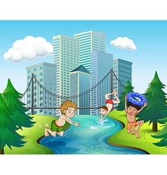 Three boys diving in the river vector image vector image