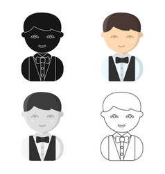 waiter cartoon icon for web and vector image