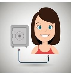 woman cartoon box safe steel vector image