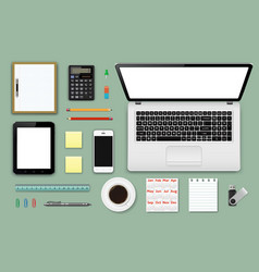 workplace office and business work elements set vector image