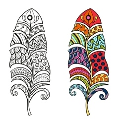 Zentangle stylized tribal color and monochrome vector