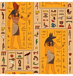 Egyptian gods and ancient egyptian hieroglyphs vector