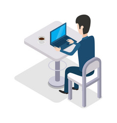 Man work with computer design flat cup of coffee vector