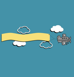 Airplane sky clouds vector