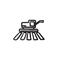 Combine harvester sketch icon vector