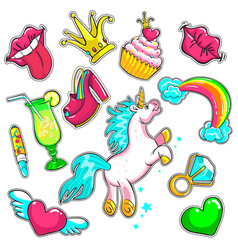 comic colorful patches set vector image