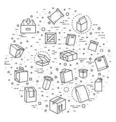 package types icon set in thin line style vector image