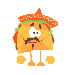funny cartoon mexican taco character with meat and vector image
