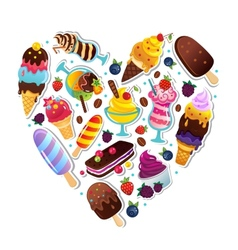 Ice cream heart vector image