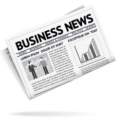 Folded newspaper presenting business news vector image