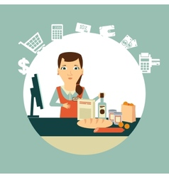 Grocery store cashier at work vector