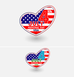4th july usa national day with heart symbol vector image vector image