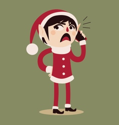 Cartoon elf holding a cell phone vector