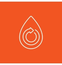 Water drop with circular arrow line icon vector