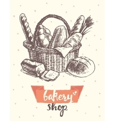 Draw vintage basket fresh bread bakery shop vector