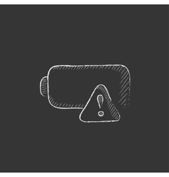 Empty battery drawn in chalk icon vector
