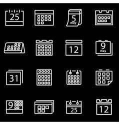 Line calendar icon set vector