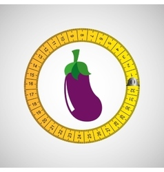 Eggplant and metric tape vector