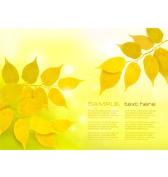 Nature background with yellow leaves vector