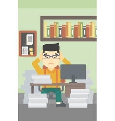 Business man in despair sitting in office vector