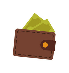 Brown wallet safe money dollar banknote vector