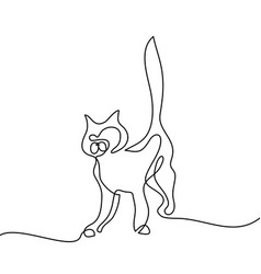 Cat silhouette logo continuous line drawing vector