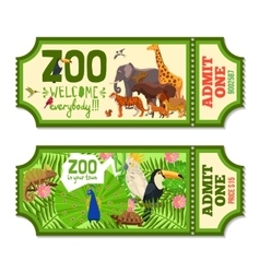 Colorful zoo tickets with tropical background vector